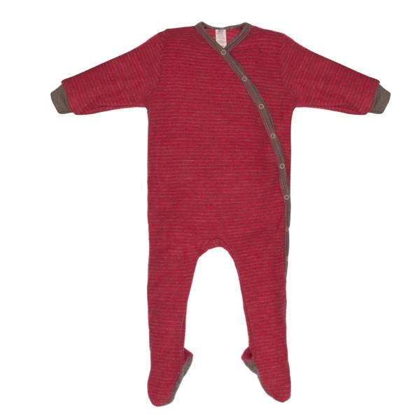 Engel Einteiliger Schlafanzug mit Fuß hibiscus/sand mélange geringelt, Frottee Gr. 62/68