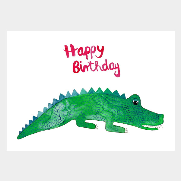 "Postkarte ""Happy Birthday Krokodil"""