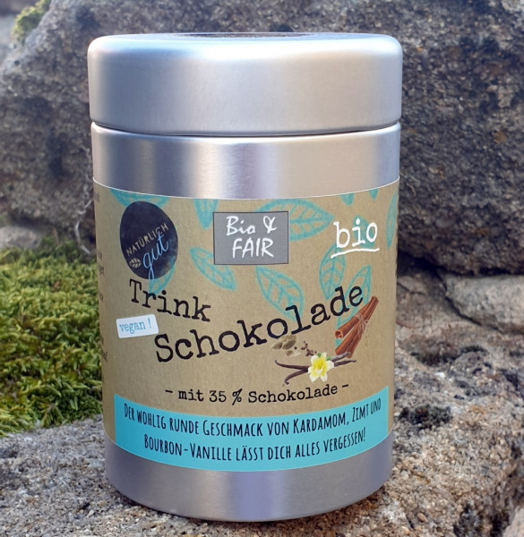 Bio & fair Trinkschokolade Vanille/Zimt/Kardamom
