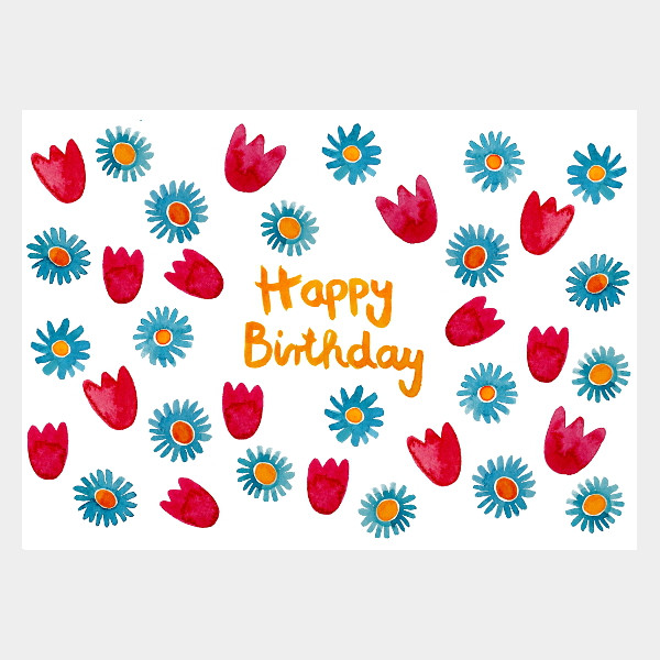 "Postkarte ""Happy Birthday Blumen"""